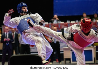 ST. PETERSBURG, RUSSIA - OCTOBER 17, 2015: Taekwondo WTF junior teams match Russia vs Iran during the martial arts festival Baltic Sea Cup in Sibur Arena