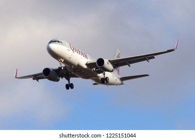 ST. PETERSBURG, RUSSIA - OCTOBER, 2018: The Airbus A320-232 plane (A7-AHQ) of Qatar Airways airline on a glide path before landing on Pulkovo Airport