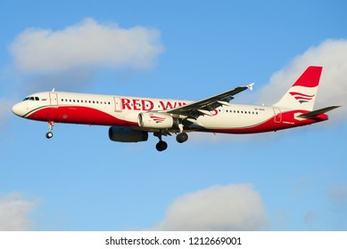 ST. PETERSBURG, RUSSIA - OCTOBER 25, 2018: The Airbus A321-200 (VP-BVO) of Red Wings airline close up in the cloudy sky