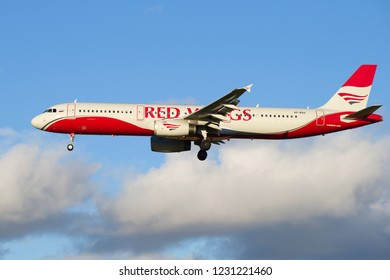 ST. PETERSBURG, RUSSIA - OCTOBER 25, 2018: The Airbus A321-200 (VP-BVO) of Red Wings airline close up before landing on Pulkovo Airport