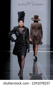 ST. PETERSBURG, RUSSIA - OCTOBER 28, 2015: Collection of Slava Zaitsev at the fashion show during Mercedes-Benz Fashion Day St. Petersburg. It is one of the most popular fashion events of the city