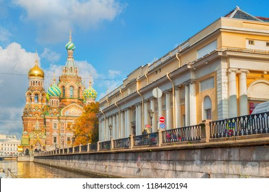 St Petersburg, Russia - October 3, 2016. Cathedral of Our Savior on Spilled Blood and building of the State Russian Museum in Saint Petersburg, Russia