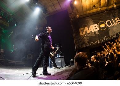 "ST. PETERSBURG, RUSSIA - OCTOBER 30: Group ""BLIND GUARDIAN"" in concert on October 30, 2010 in St Petersburg, Russia"