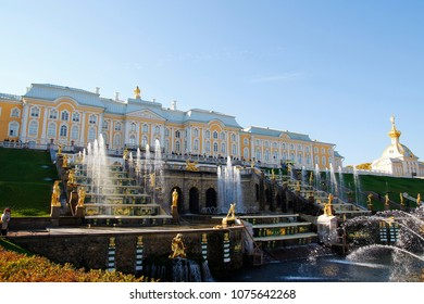 ST PETERSBURG, RUSSIA - October 7, 2014: Grand Cascade Fountains in Peterhof Palace. The Peterhof palace included in the UNESCO's World Heritage List.