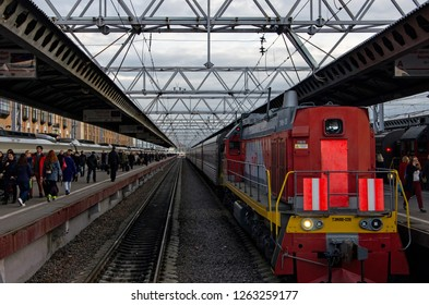 ST PETERSBURG, RUSSIA - OCTOBER 7, 2017: Red locomotive T3M18B-039 at the Moscovsky Railway Station. Editorial Use Only.