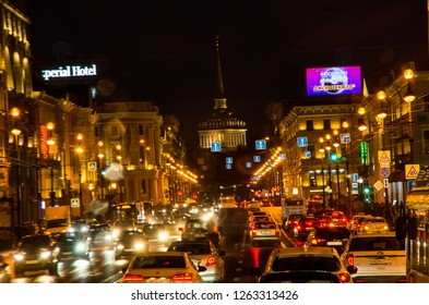 ST PETERSBURG, RUSSIA - OCTOBER 7, 2017: The very busy main road of the city of St Petersburg, the Nevsky Avenue, at night . Editorial Use Only.