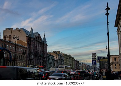 ST PETERSBURG, RUSSIA - OCTOBER 7, 2017: The very busy main road of the city of St Petersburg, the Nevsky Avenue, during dusk . Editorial Use Only.