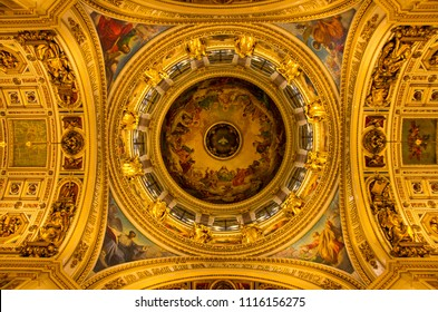 ST PETERSBURG, RUSSIA - OCTOBER 9, 2017: The ceiling wall-painting at one of the world's largest Dome of the St. Issac's Cathedral in St. Petersburg