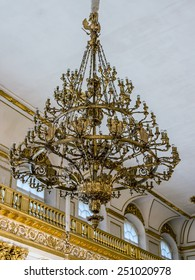 St. Petersburg, Russia, on July 24, 2012. A chandelier in one of museum halls the State Hermitage. The Hermitage - one of the best-known art museums of the world
