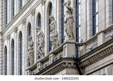 ST. PETERSBURG, RUSSIA - Sep 08, 2018: Detail of building facade on Ostrovsky square with woman sculptures St. Petersburg.