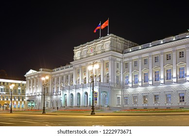 ST. PETERSBURG, RUSSIA - SEPT 14, 2018: Mariinsky Palace, also known as Marie Palace (1844), Neoclassical imperial palace on St Isaac's Square