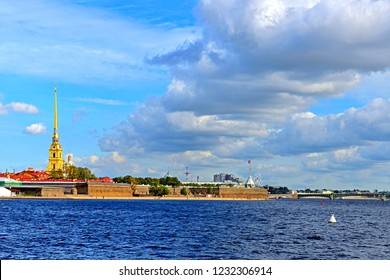 ST. PETERSBURG, RUSSIA - SEPT 15, 2018: Clouds over river Neva