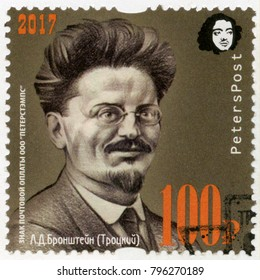 ST. PETERSBURG, RUSSIA - SEPTEMBER 08, 2017: A stamp printed in Russia shows Leon Trotsky Lev Davidovich Bronstein (1879-1940), 100 anniversary of Great Russian revolution, 1917-2017, 2017