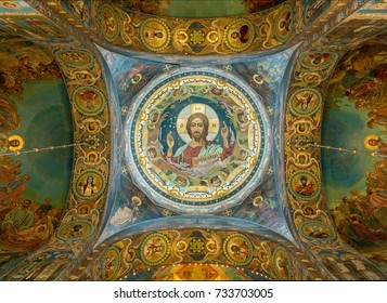 ST PETERSBURG, RUSSIA - SEPTEMBER 12: Ceiling of Church on Spilled Blood on September 12, 2017 in St Petersburg, Russia. It was finished in 1907.