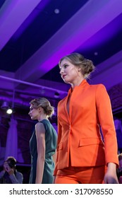 """ST. PETERSBURG, RUSSIA - SEPTEMBER 14, 2015: Fashion show at the opening of project """"Showroom 35"""". It provides a unique free area for young St. Petersburg designers to expose their fashion collections"""