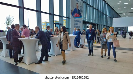 St. Petersburg, RUSSIA - September 17, 2019: Coffee break zone for relaxation, negotiations and networking for businessmen and visitors in Expoforum - exhibition, convention and conference expo center