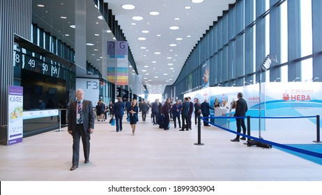 St. Petersburg, RUSSIA - September 17, 2019: New expo center EXPOFORUM - business platform for international exhibition, conference, forum, sessions. Businessmen, visitors, people in the centre. Hall