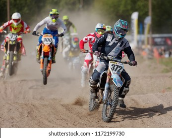 ST. PETERSBURG, RUSSIA - SEPTEMBER 2, 2018: Athletes compete in third stage of Russian Supercross Championship. This stage is held on the motor racing track of DOSAAF in Saint Petersburg