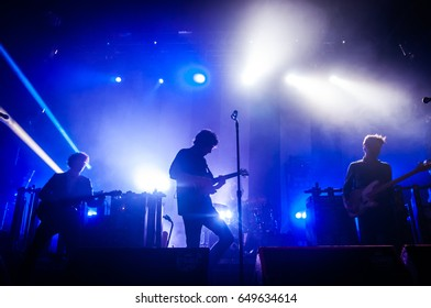 ST. PETERSBURG, RUSSIA - SEPTEMBER 26, 2012: Concert of The Kooks (band) at the Glavclub