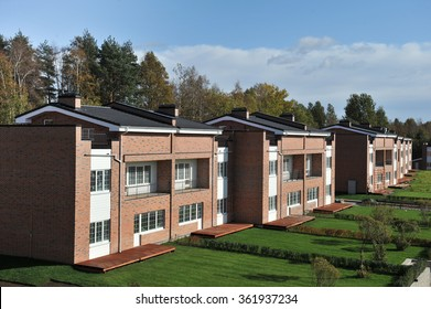 St. Petersburg, Russia - September 29, 2015: Country-storey residential block  brick houses an average price category.