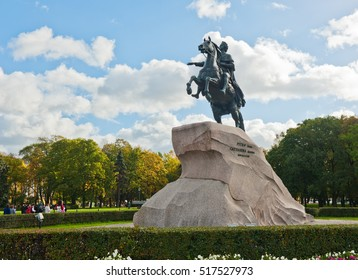 ST. PETERSBURG, RUSSIA - SEPTEMBER 30, 2016. Monument to Peter the Great (Bronze Horseman)