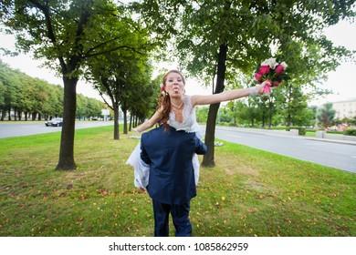 ST PETERSBURG, RUSSIA - SEPTEMBER 5, 2015: Wedding Event. Wedding Couple Bride and Groom on Wedding Walk