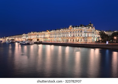 ST. PETERSBURG, RUSSIA - SEPTEMBER 6, 2015: Architecture monument Winter Palace and Hermitage on Neva river coast at night