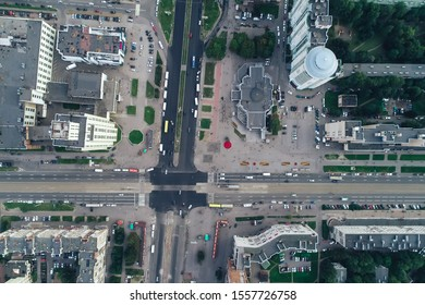 St Petersburg, Russia - September 7, 2019: Aerial Townscape of Saint Petersburg City. Kalininsky District