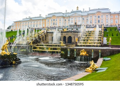 St. Petersburg / Russia-August 05, 2016: Grand Cascade in Peterhof