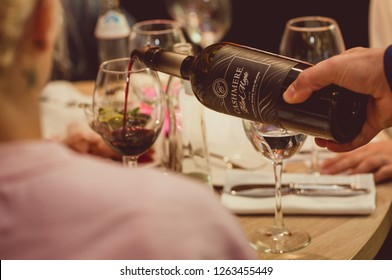St. Petersburg, Russia-August 16, 2018: Cashmere wine, produced by Cline family Cellars, pouring for tasting at the training.