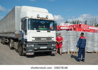 St. Petersburg, Russia-July 16, 2015: Warehouses building network of hypermarkets,  supervisors and drivers  are working in warehouses.