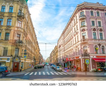 ST PETERSBURG, RUSSIA-JULY 26, 2018: Cityscape of street with historical buildings in St, Peterburg, Russia