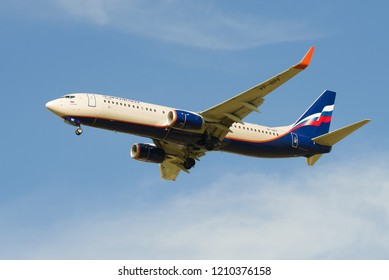 """St. PETERSBURG, RUSSIA-MAY 08, 2018: Flying aircraft Boeing 737-800 """"Nicholas Roerich"""" (VP - BPF) Aeroflot close-up against the blue sky"""