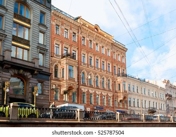 ST PETERSBURG, RUSSIA-OCTOBER 3, 2016. Historic buildings at Griboyedov Canal in St Petersburg, Russia. In the middle is former apartment house belonged to a rich merchant Stepan Ivanovich Krundyshev.