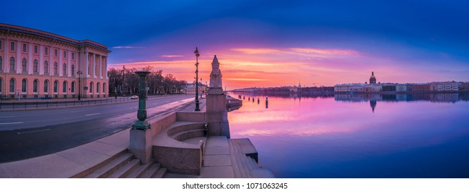 St. Petersburg Vasilievsky Island. Sphinx on the embankment of the Neva River. Panorama of Petersburg. Peter. White nights in Petersburg. Russian Federation. Sphinxes in Saint-Petersburg