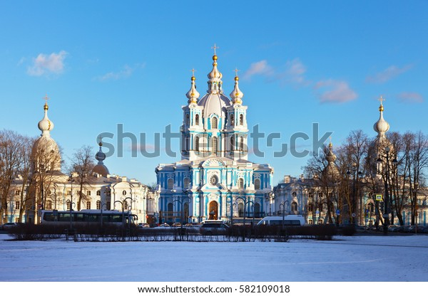 St. Petersburg. View of the Smolny Cathedral and the Rastrelli Square in winter