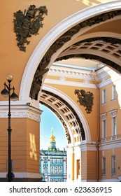 St. Petersburg. View through the  Triumphal arch of the General Staff Building on Palace Square and Hermitage. Details of the beautiful architecture of the city