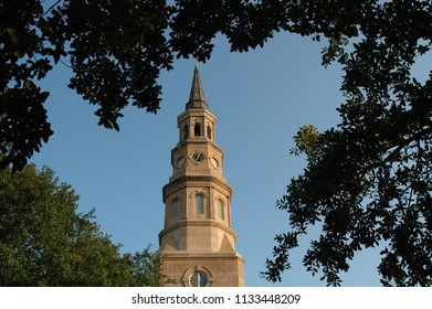 St. Philip's Episcopal Church is a historic landmark in Charleston South Carolina. Built in 1836 this stuccoed brick church features an imposing tower designed in the Wren-Gibbs tradition.