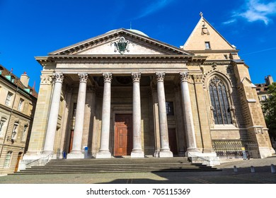 St. Pierre Cathedral in Geneva in a beautiful summer day, Switzerland