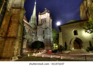 The St Pierre Cathedral in Geneva's old town on a full moon night