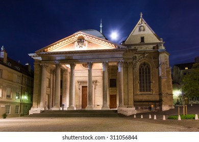 The St Pierre Cathedral in the old town of Geneva on a full moon night