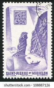 ST. PIERRE AND MIQUELON - CIRCA 1945: stamp printed by Saint Pierre and Miquelon, shows Soldiers Bay, circa 1945.