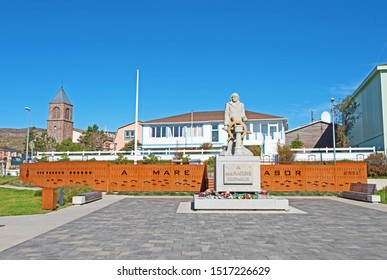St. Pierre and Miquelon/France - September 28 2019: a statue erected to the memory of sailors who have lost their lives at sea can be found in the Square Joffre.