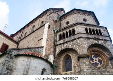 St. Procopius Basilica in Trebic, river Jihlava, Czech Republic,