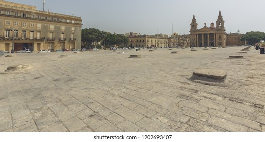St Publius Square Floriana Malta, The Granaries - historical landmark, summer 2018 horizontal photography