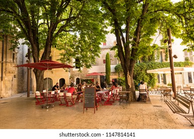 St Remy, Buches du Rhone, Provence, France 25,06,2018.Place Favier in St Remy de Provence.