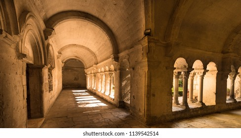 St Remy de Provence, Bouches du Rhone, France, 06.24.2018. Cloister of the Monastery of San Paul de Mausole at Saint-Remy de Provence, where Van Gogh spent in 1889.
