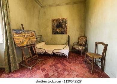 St Remy de Provence, Bouches du Rhone, France, 06.23.2018.  Reconstruction of Vincent Van Gogh's room in the monastery of St. Paul de Mausole.