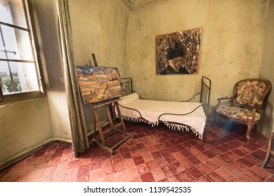 St Remy de Provence, Bouches du Rhone, France, 06.24.2018.  Reconstruction of Vincent Van Gogh's room in the monastery of St. Paul de Mausole.