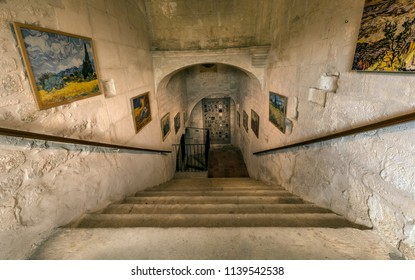 St Remy de Provence, Bouches du Rhone, France, 06.23.2018.  The central staircase leading to Van Gogh's room in the monastery of St. Paul de Mausole.